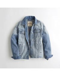 Hollister - Ripped Boyfriend Denim Jacket - Lyst