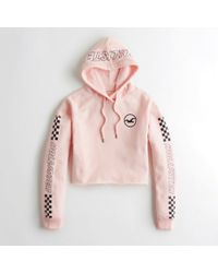 Hollister - Girls Checkerboard Graphic Crop Hoodie From Hollister - Lyst
