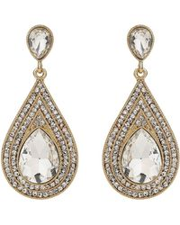 Mikey - Oval Crystal Studded Edged Earring - Lyst