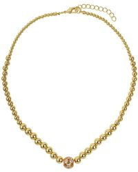 Mikey - Large Crystals Ball Metal Chain Necklace - Lyst