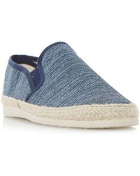 Dune - Navy 'finnick' Flecked Canvas Espadrille Shoes - Lyst