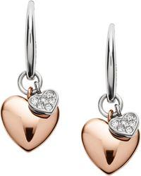 Fossil | Double Heart Two-tone Steel Earrings | Lyst