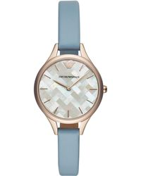 Emporio Armani - Women`s Blue Leather Dress Watch - Lyst