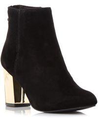 7b53d17c358 Lyst - Steve madden Women s Cynthia Zipper Gold Block-heel Booties ...
