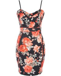Jane Norman - Coral Floral Seam Detail Dress - Lyst