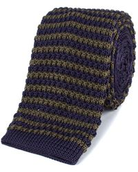 Gibson - Olive And Navy Stripe Knitted Tie - Lyst