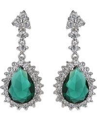 Mikey - Oval Cubic Edged Crystal Drop Earring - Lyst