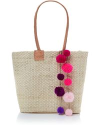 Helen Moore - Small Pom Pom Beach Basket Bag - Lyst