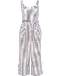 Quiz - White And Navy Stripe Tie Belt Jumpsuit - Lyst