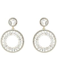 Mikey - Round Crystal Edged Oval Earring - Lyst