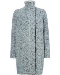 Samsøe & Samsøe - Grey Wool Overcoat With Button Front - Lyst