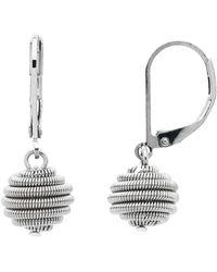 Monet - Spirals Silver Ball Leverback Earrings - Lyst
