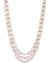 Anne Klein - 3 Rows Rose Gold Necklace - Lyst