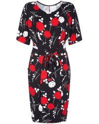 Yumi' Kimono Sleeve Oriental Print Jersey Dress - Black