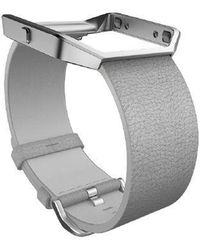 Fitbit - Blaze Mist Grey Leather Accessory Band, Large - Lyst