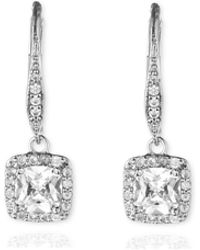 Anne Klein - Single Stone Drop Pave Earrings - Lyst