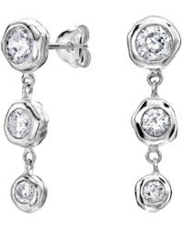 Dower & Hall Dewdrop Sterling Silver Graduating White Topaz Beaten Nugget Drop Earrings ymX1lE5