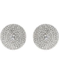 Mikey - Round Shield Design Cubic Embed Earring - Lyst