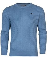 Raging Bull - Crew Neck Cable Knit Sweater - Lyst