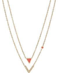 Fossil - Geometric Gold-tone Steel Necklaces - Lyst