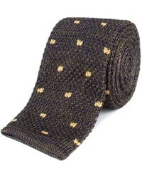 Gibson - Olive And Navy With Spot Knitted Tie - Lyst