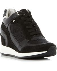 Geox - Nydame Zip Side Lace Up Wedge Trainers - Lyst