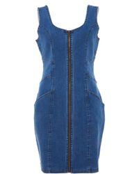 Quiz - Blue Denim Zip Pinafore Dress - Lyst