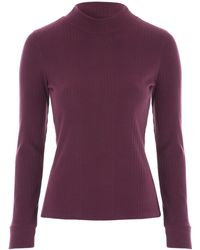 Jane Norman - High Neck Ribbed Top - Lyst