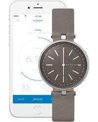 Skagen - Signatur Leather Strap Hybrid Smartwatch - Lyst