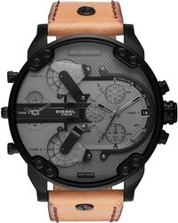 DIESEL - Mr. Daddy 2.0 Ip Leather Chrono Watch - Lyst