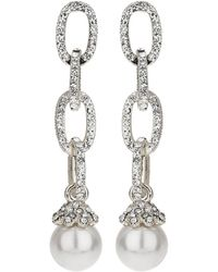 Mikey   Chain Design Cubic Drop Earring   Lyst