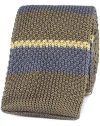 Gibson - Green Striped Knitted Tie - Lyst