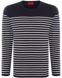 HUGO - Men's Soman Knitted Breton Stripe - Lyst