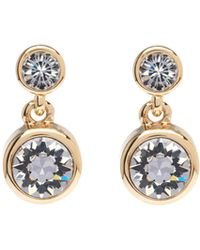 Karen Millen - Gold & Crystal Dot Drop Earring - Lyst