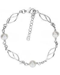 Azendi - Silver & Pearl Spirals Bracelet - Lyst