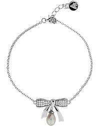 Azendi | Silver & Pearl Pavé Bow Bracelet | Lyst