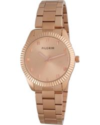 Pilgrim - Rose Gold Plated Metal Band Watch - Lyst