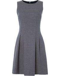 Armani Jeans - Sleeveless Dobby Pattern Dress In Fantasia Blu - Lyst