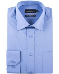 Double Two - Plain Poplin 100% Cotton Shirt - Lyst
