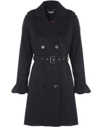 Jane Norman - Black Frill Sleeve Trench Coat - Lyst
