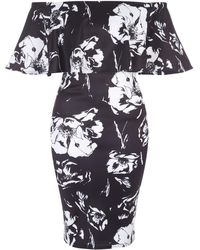 Jane Norman - Floral Ruffle Bardot Dress - Lyst