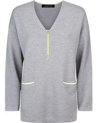 Jaeger | Wool Zip Detail V-neck Sweater | Lyst