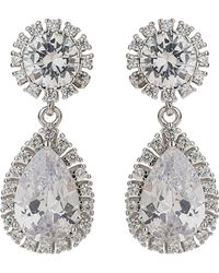Mikey - Oval Round Cubic Edge Drop Earring - Lyst