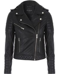 Jane Norman | Black Quilted Leather Jacket | Lyst