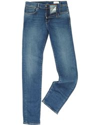 SELECTED - Leon Slim Fit Mid Blue Denim - Lyst