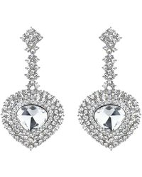 Mikey | Oval Crystal Long Drop Surround Earring | Lyst
