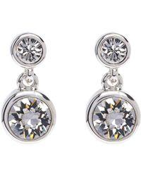 Karen Millen - Silver & Crystal Dot Drop Earring - Lyst