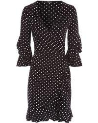 Jane Norman - Spot Frill Wrap Dress - Lyst