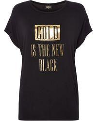 Biba - `gold Is The New Black` Slogan Tee - Lyst