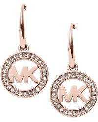 Michael Kors - Mkj4796791 Ladies Mk Logo Drop Earrings - Lyst